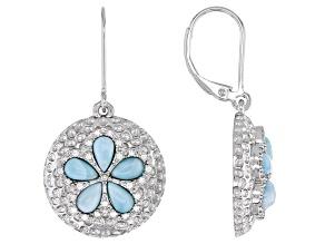 Blue Larimar Rhodium Over Sterling Silver Dangle Earrings 0.21ctw