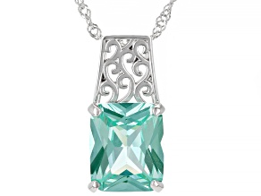 Green Lab Created Spinel Rhodium Over Silver Pendant With Chain 5.80ct