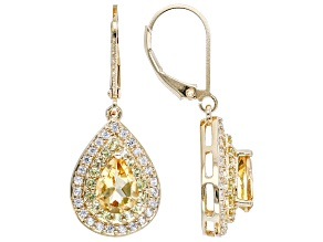 Yellow Citrine 18K Yellow Gold Over Sterling Silver Earrings. 2.90ctw