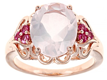 Picture of Rose Quartz 18k Rose Gold Over Sterling Silver Ring 3.88ctw