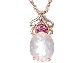 Rose Quartz 18k Rose Gold Over Silver Pendant With Chain 3.77ctw
