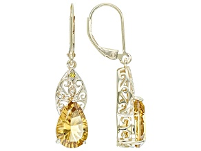 Champagne Quartz With Yellow Diamond 18k Yellow Gold Over Sterling Silver Earrings 4.82ctw