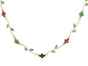 Multi-Color Multi-Gemstone 18k Yellow Gold Over Sterling Silver Necklace 2.61ctw