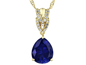 Blue Lab Created Sapphire 18k Yellow Gold Over Sterling Silver Pendant With Chain 4.35ctw