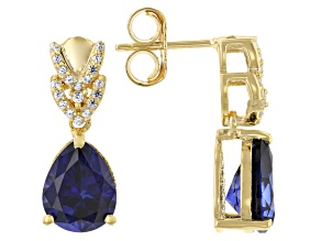 Blue Lab Created Sapphire 18k Yellow Gold Over Sterling Silver Earrings 4.72ctw