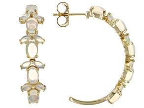 Multicolor Ethiopian Opal 18K Yellow Gold Over Sterling Silver Earrings 6x4mm