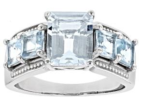 Blue Aquamarine Rhodium Over Sterling Silver Ring 3.06ctw