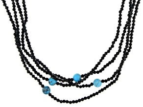 Blue Turquoise With Black Spinel Beaded Endless Necklace 5-6mm