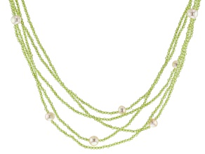 White Cultured Freshwater Pearl Beaded Endless Strand Necklace