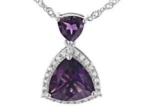 Purple Amethyst Rhodium Over Sterling Silver Pendant With Chain 3.32ctw