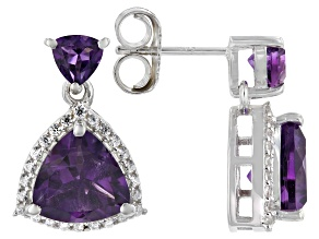 Purple Amethyst Rhodium Over Sterling Silver Earrings 4.60ctw