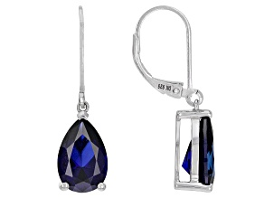 Blue Lab Created Sapphire Rhodium Over Sterling Silver Dangle Earrings 3.57ctw