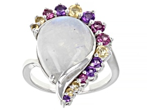Rainbow Moonstone Rhodium Over Sterling Silver Ring 0.90ctw