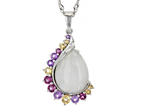Rainbow Moonstone Rhodium Over Sterling Silver Pendant With Chain 8.23ctw