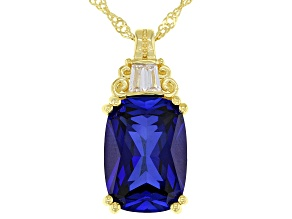 Blue Lab Created Sapphire 18K Yellow Gold Over Silver Pendant With Chain 7.40ctw