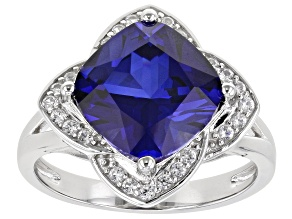 Blue Lab Created Sapphire Rhodium Over Silver Ring 4.62ctw
