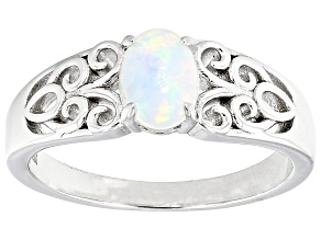 Multicolor Ethiopian Opal Rhodium Over Sterling Silver Solitaire Ring 7x5mm