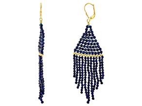 Blue Lapis Lazuli Beaded 18K yellow Gold Over Sterling Silver Dangle Earrings