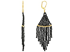 Black Spinel Beaded Sterling Silver Dangle Earrings