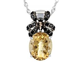 Champagne Quartz Rhodium Over Sterling Silver Pendant With Chain 4.08ctw