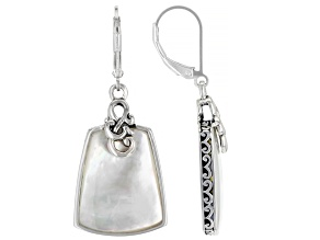 20x16mm Free-Form Cabochon White Mother Of Pearl Sterling Silver Dangle Earrings