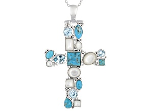 Blue Turquoise Rhodium Over Sterling Silver Cross Pendant Chain 2.16ctw