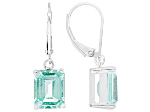 Green Lab Created Spinel Rhodium Over Sterling Silver Earrings. 5.41ctw.