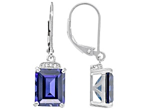 Lab Created Blue Sapphire With White Zircon Rhodium Over Sterling Silver Earrings 6.50ctw