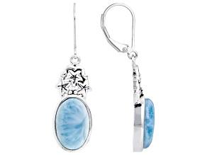 Blue Larimar Rhodium Over Sterling Silver Dangle Earrings 14x9mm