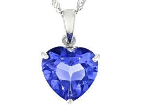 Blue Heart Shaped Fluorite Rhodium Over Sterling Silver Pendant With Chain 5.95ct