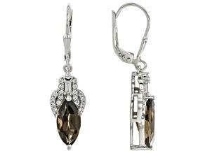 Brown Smoky Quartz Rhodium Over Silver Dangle Earrings 3.01ctw