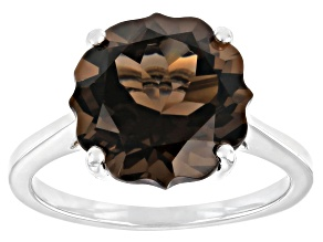 Brown Smoky Quartz Rhodium Over Sterling Silver Solitaire Ring 4.76ct