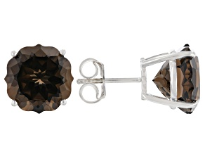 Brown Smoky Quartz Rhodium Over Sterling Silver Stud Earrings 9.52ctw