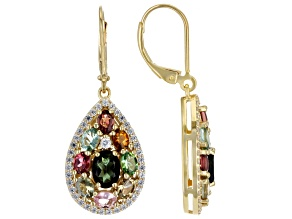 Multi-Color Tourmaline 18k Yellow Gold Over Sterling Silver Earrings 4.69ctw