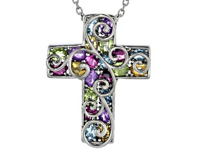 Purple Amethyst Platinum Over Sterling Silver Cross Pendant With Chain 3.46ctw