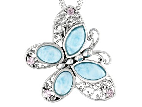 Blue Larimar Sterling Silver Butterfly Pendant With Chain 0.15ctw