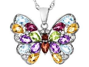 Multi-Color Multi Stone Rhodium Over Sterling Silver Butterfly Pendant With Chain 3.39ctw