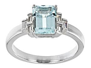 Blue Aquamarine Rhodium Over Sterling Silver Ring 1.43ctw