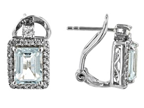 Blue Aquamarine Rhodium Over Sterling Silver Earring 2.03ctw