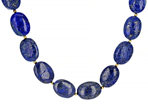 Cabochon Blue Lapis Lazuli 18k Yellow Gold Over Sterling Silver Necklace