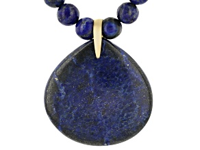 Blue Lapis Lazuli 18k Yellow Gold Over Sterling Silver Necklace With Enhancer