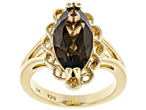 Brown Smoky Quartz 18k Yellow Gold Over Sterling Silver Solitaire Ring 3.40ct