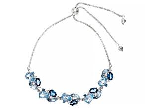 London Blue Topaz Rhodium Over Silver Bolo Bracelet 8.53ctw