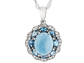 Blue Oval Larimar Rhodium Over Sterling Silver Pendant With Chain 10x8mm
