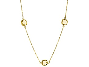 Yellow Citrine 18K Yellow Gold Over Sterling Silver Station Necklace 25.50ctw