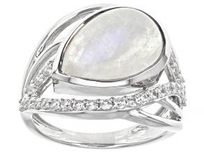 White Rainbow Moonstone Rhodium Over Silver Ring 0.51ctw