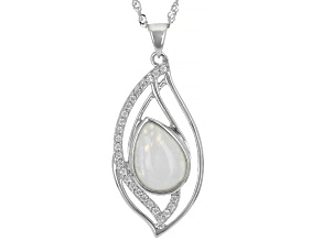 White Rainbow Moonstone Rhodium Over Sterling Silver Pendant With Chain 0.38ctw