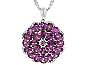 Purple Rhodolite Rhodium Over Sterling Silver Pendant With Chain 5.38ctw