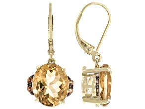 Brown Champagne Quartz 18K Yellow Gold Over Sterling Silver Earrings 8.13ctw
