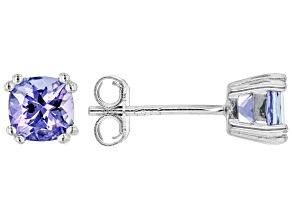 Blue Tanzanite Rhodium Over Sterling Silver Stud Earrings 0.94ctw
